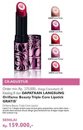 produk kecantikan Oriflame Beauty Triple Core Lipstick